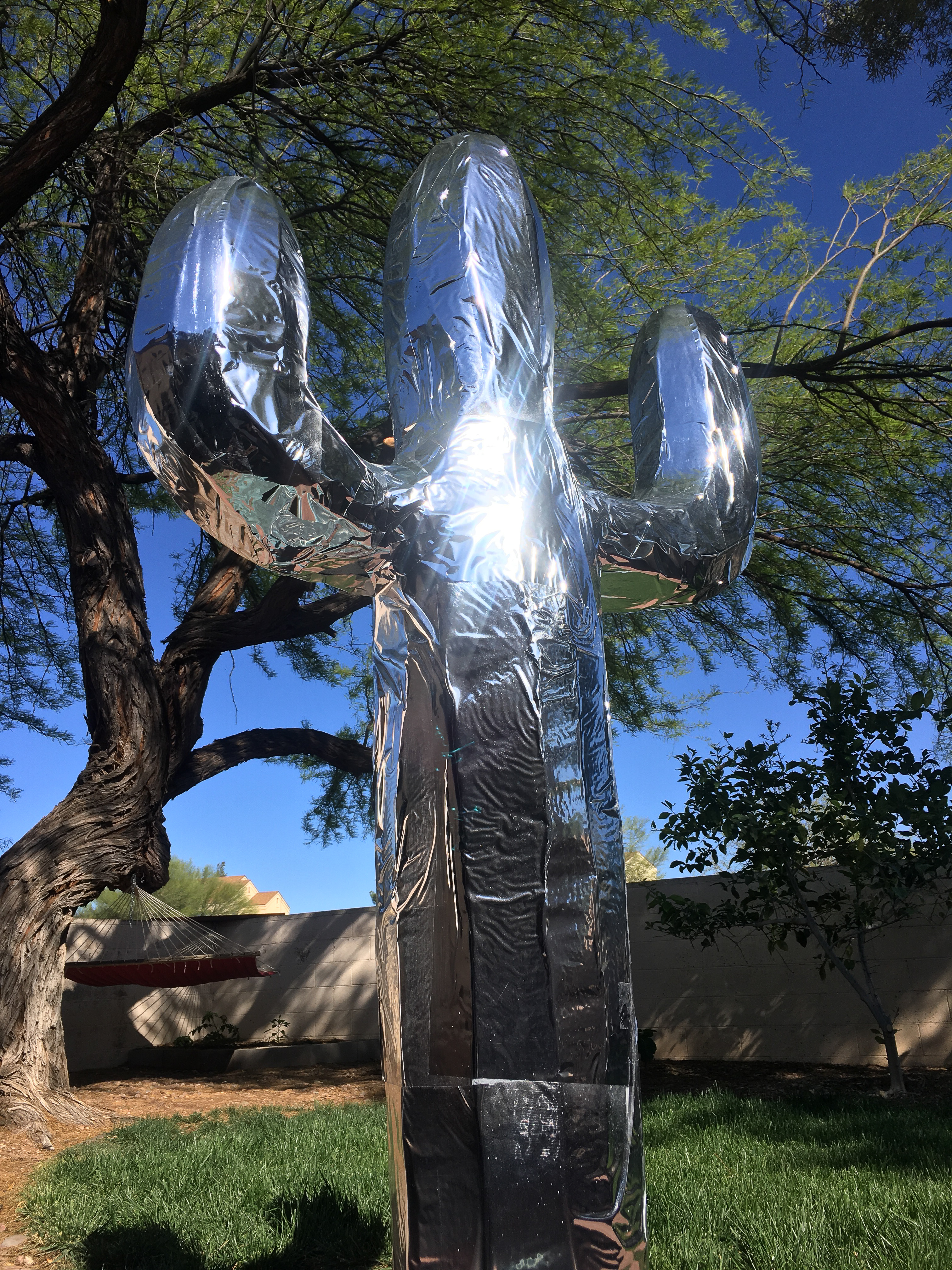 A finished reflective coat on the cactus sculpture in direct sunlight