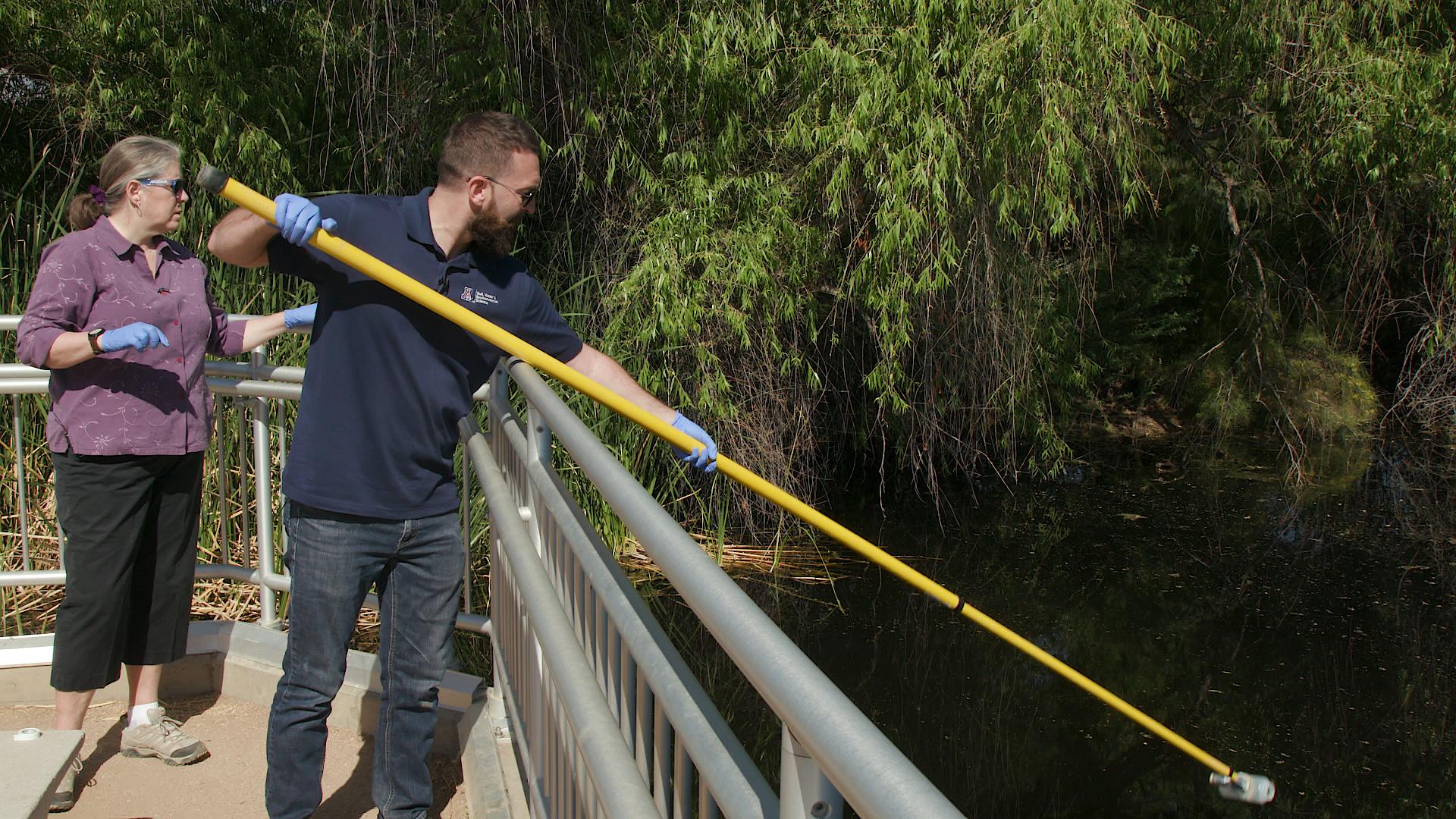 Researchers sampling water