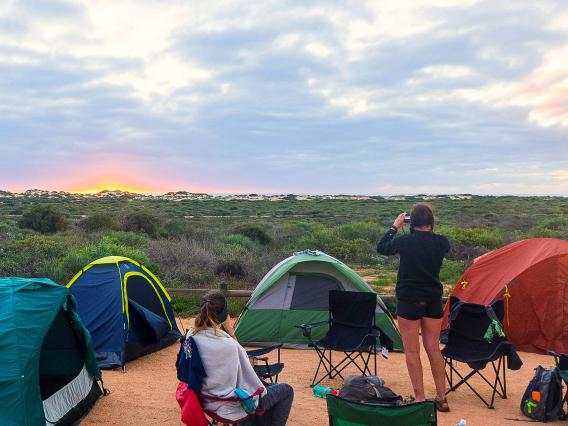 Students camping during study abroad in Australia