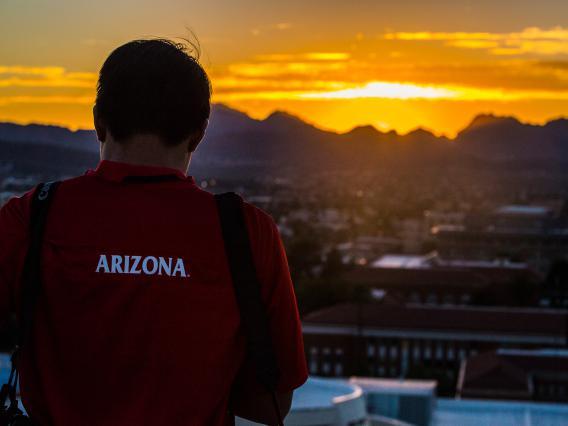 Enjoying the sunset on the University of Arizona Campus