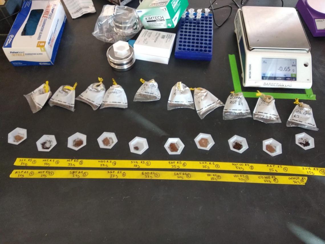Analyzing soil samples in lab